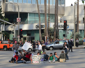 UCLA students occupy the center of Wilshre intersection
